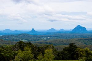 Glass House Mountains as viewed from Mary Cairncross Park